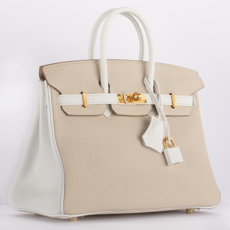 1stdibs Exclusives from Three Over Six  Brand: Hermès  Style: Birkin Special Order Size: 25cm Color: Craie & White Leather: Clemence Hardware: Gold Year: 2020 Y  Condition: Pristine, never carried: The item has never been carried and is in pristine
