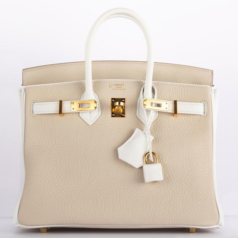 1stdibs Exclusives Hermes Birkin 25cm Craie & White Clemence Gold Hardware For Sale 1