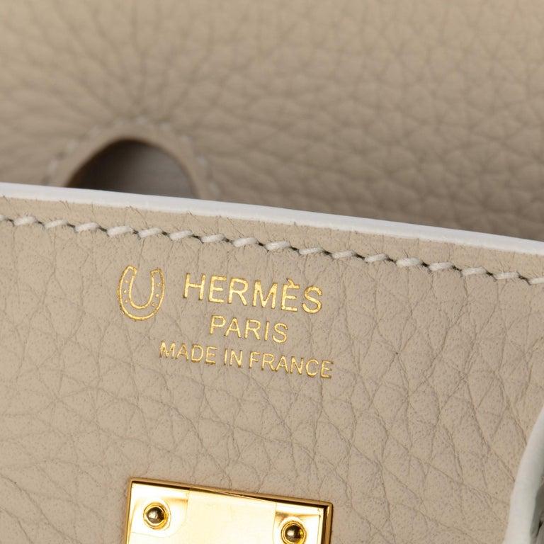 1stdibs Exclusives Hermes Birkin 25cm Craie & White Clemence Gold Hardware For Sale 3