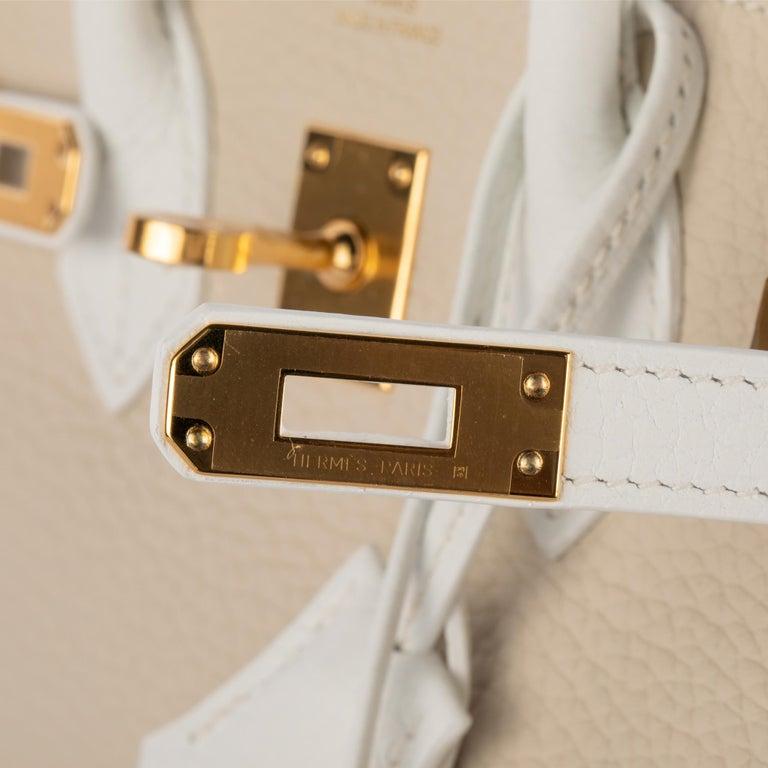 1stdibs Exclusives Hermes Birkin 25cm Craie & White Clemence Gold Hardware For Sale 4
