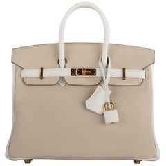 1stdibs Exclusives Hermes Birkin 25cm Craie & White Clemence Gold Hardware