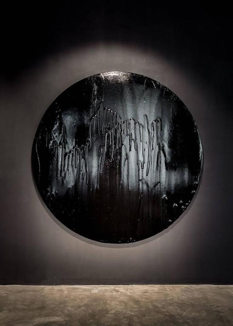 """Mister Moonlight, 2017 Tar and wood 72"""" Ø x 2"""" D Unique, one of a kind wall sculpture From the solo exhibition at THE NEW gallery.  About Mattia Biagi (designer): Mattia Biagi (b. 1974 Ravenna, Italy) is an LA, based artist and designer known"""