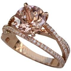 2 1/2 Carat 14 Karat Rose Gold Round Morganite Engagement Ring