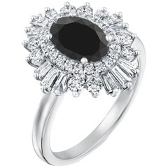 2 1/2 Carat 14 Karat White Gold Certified Oval Black Diamond Engagement Ring