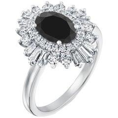 2 1/2 Carat 14 Karat White Gold Certified Oval Black Diamond Engagement Ring