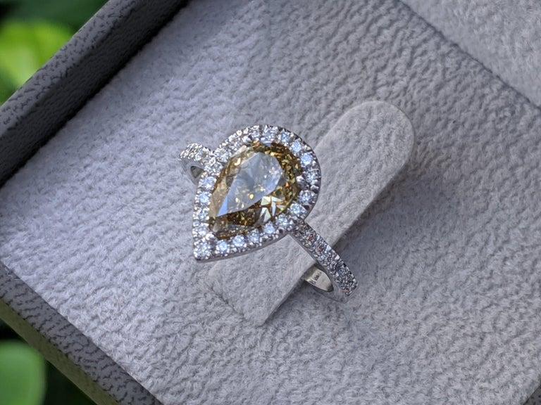 Art Deco 2 1/2 Carat 14K White Gold Ring, Chocolate Pear Diamond Ring, Champagne Diamond For Sale