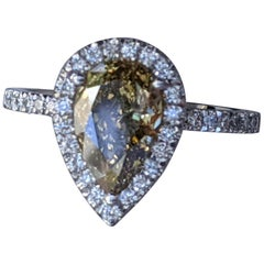 2 1/2 Carat 14K White Gold Ring, Chocolate Pear Diamond Ring, Champagne Diamond
