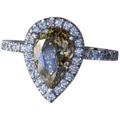 2 1/2 Carat 14K White Gold Ring, Chocolate Pear Diamond Ring, Champagne Diamond