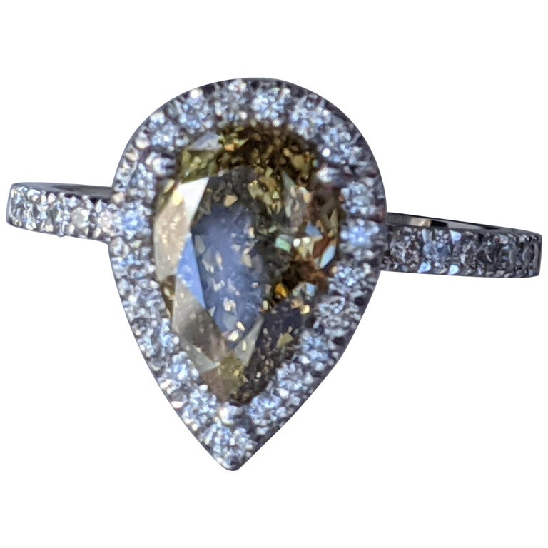2 1/2 Carat 14K White Gold Ring, Chocolate Pear Diamond Ring, Champagne Diamond For Sale