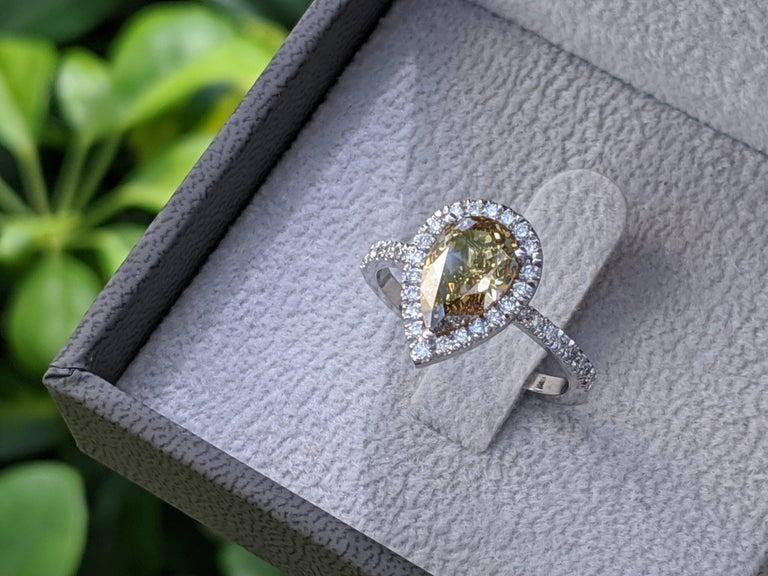 2 1/2 Carat Pear Engagement Ring, Chocolate Pear Diamond Ring, Champagne Diamond Halo Ring, Brownish Diamond Tear Drop, Anniversary Gift    Main Stone Name: Natural Diamond  Main Stone Weight: 2.00ct  Main Stone Clarity: SI1  Main Stone Color: