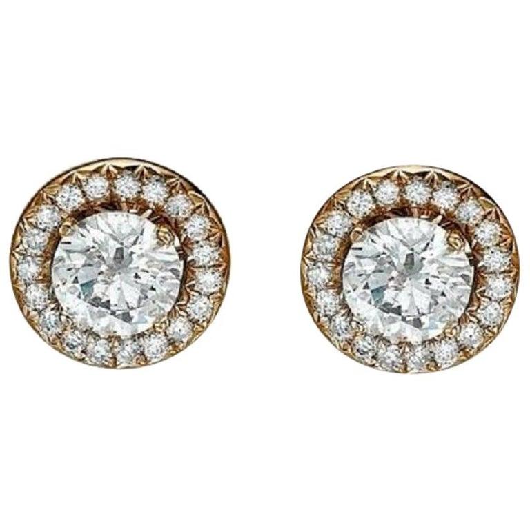 2 1/2 Carat Diamond Earrings, Halo Round 14 Karat Rose Gold Diamond Earrings