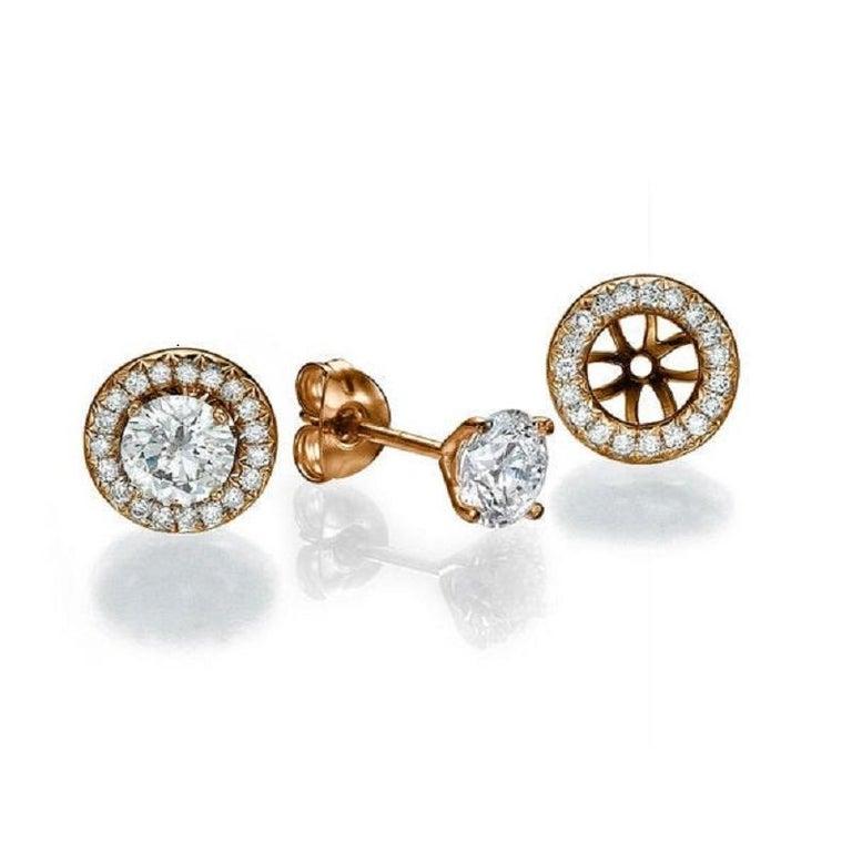 Art Deco 2 1/2 Carat Diamond Earrings, Halo Round 14 Karat Rose Gold Diamond Earrings