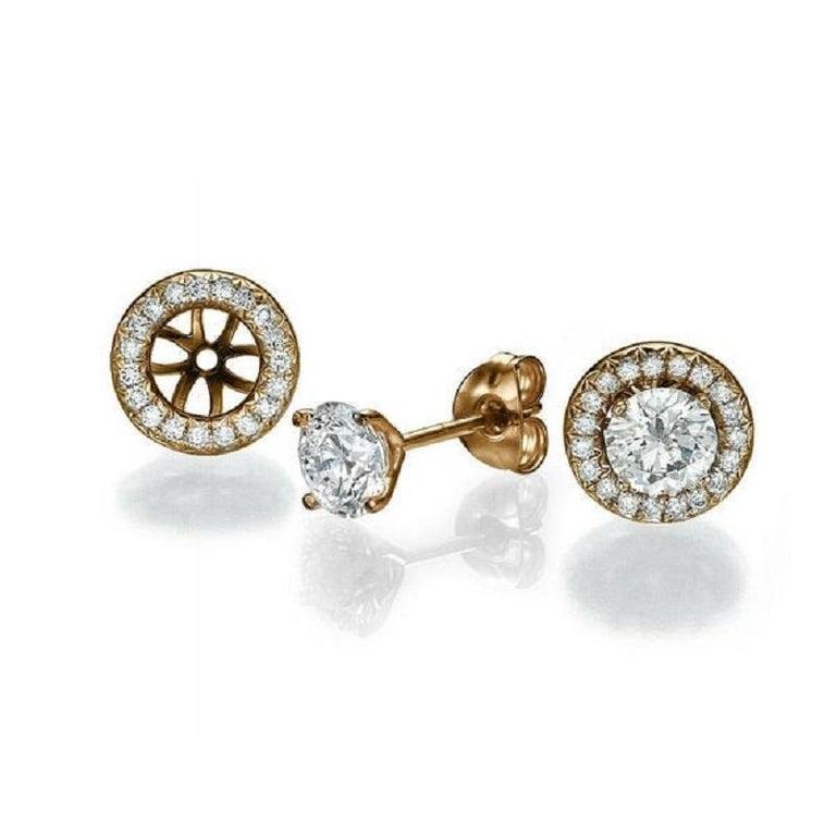Round Cut 2 1/2 Carat Diamond Earrings, Halo Round 14 Karat Rose Gold Diamond Earrings