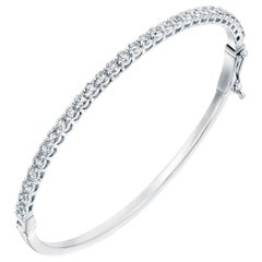 2 1/2 Carat Round Brilliant Diamond Bangle, 14 Karat White Gold Diamond Bracelet