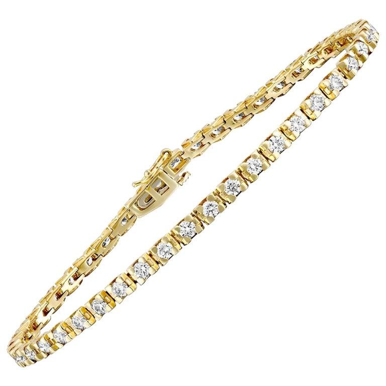 2 1/2 Carat Round Diamond Bracelet, 14 Karat Yellow Gold Diamond Tennis Bracelet For Sale