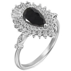 2 1/4 Carat 14 Karat White Gold Certified Pear Black Diamond Engagement Ring