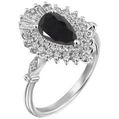 2 1/4 Carat 14 Karat White Gold Certified Pear Black Diamond Engagement Ring