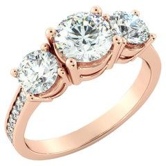 2 1/4 Carat GIA Ring, 3 Stone Round Cut 18 Karat Rose Gold Diamond Ring