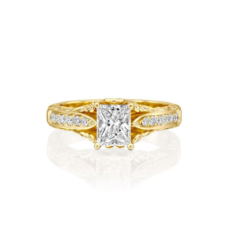 Art Deco 2 1/4 Carat Radiant Cut Ring, 18 Karat Yellow Gold Vintage Diamond Ring For Sale