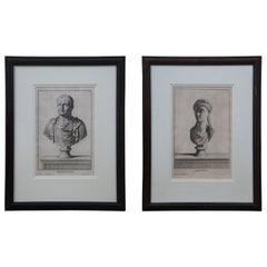 2 18th Century Bust Engravings Vespasian Antonia C. Gregori G. D. Campiglia