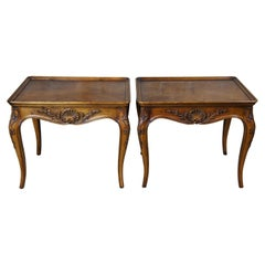 2 1987 Henredon Country French Rectangular Walnut Side Accent Tables 3201-41