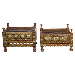 2 19th Century Moroccan Low Bedside Tables
