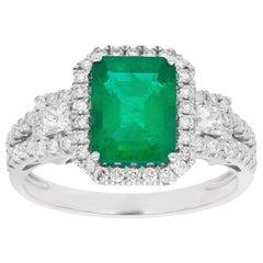 2 2/5 Carat Emerald and Diamond 18 Karat White Gold Engagement Ring