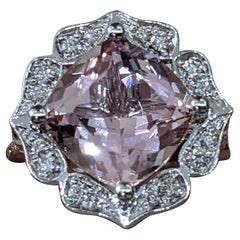 2 3/4 14 Karat White Gold Art Deco Style Cushion Morganite Engagement Ring