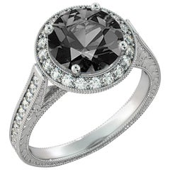 2 3/4 Carat 14 Karat White Gold Certified Round Black Diamond Ring