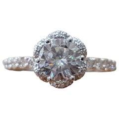 2 3/4 Carat Diamond 14 Karat White Gold Round Engagement Ring, Diamond Halo Ring