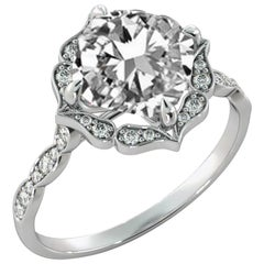 2 3/4 Carat GIA Cushion Halo Ring, 18 Karat White Gold Vintage Diamond Ring