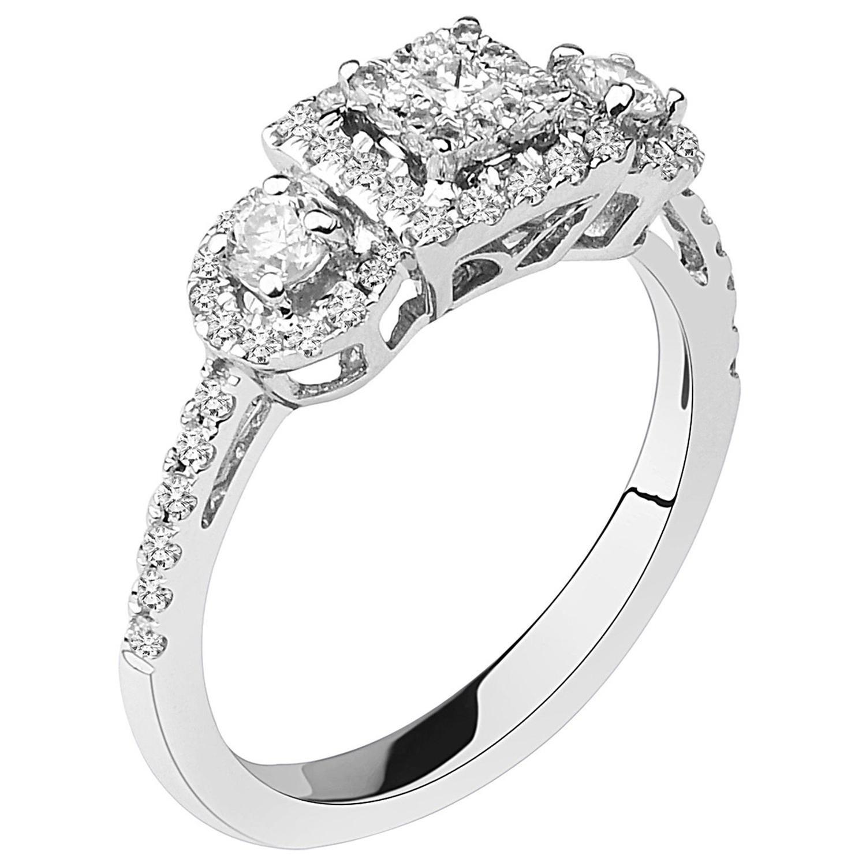 2/3 Carat Certified Round Halo and Princess Centre Diamond Ring 14 Karat Gold