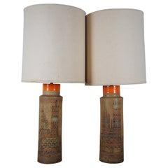 2 Aldo Londi Bitossi Mid-Century Modern Ceramic Table Lamp Pair Italian Campus