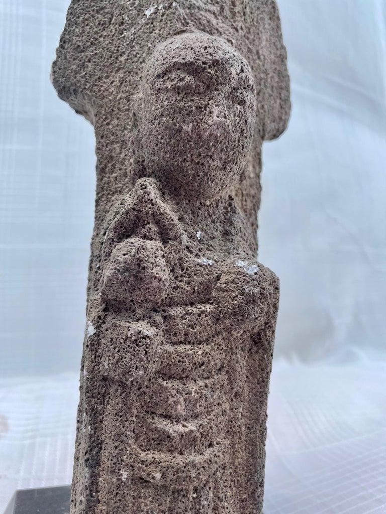 Carved #2. 18th Century Japanese Jizo Bodhisattva Stone Carving. For Sale
