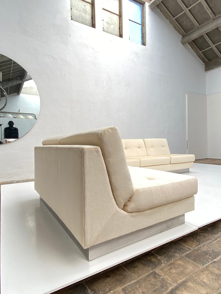 2 and 3 Seat Mohair 'CALIFORNIA' Sofas by Jacques Charpentier, Paris, 1970 For Sale 6