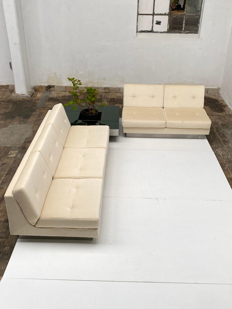 Mid-Century Modern 2 and 3 Seat Mohair 'CALIFORNIA' Sofas by Jacques Charpentier, Paris, 1970 For Sale