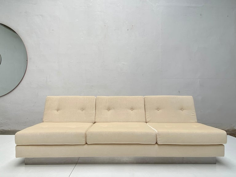 French 2 and 3 Seat Mohair 'CALIFORNIA' Sofas by Jacques Charpentier, Paris, 1970 For Sale