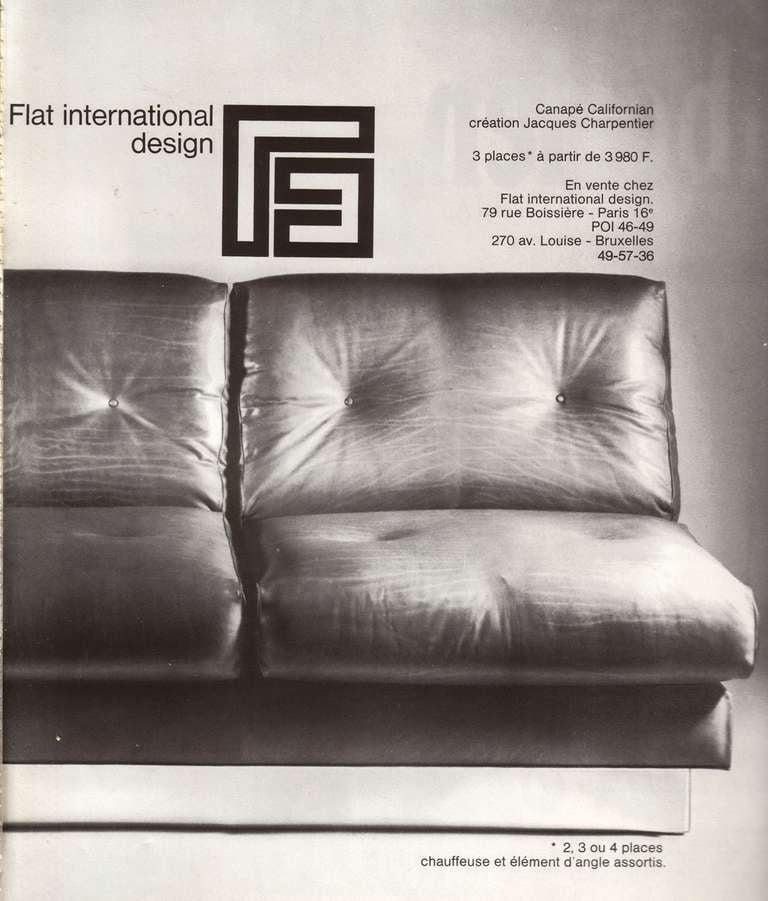 Hand-Crafted 2 and 3 Seat Mohair 'CALIFORNIA' Sofas by Jacques Charpentier, Paris, 1970 For Sale