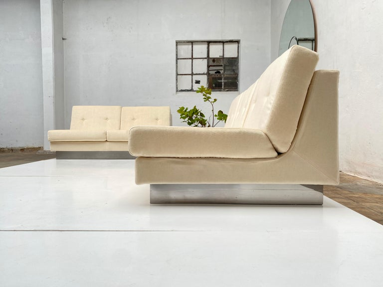 Late 20th Century 2 and 3 Seat Mohair 'CALIFORNIA' Sofas by Jacques Charpentier, Paris, 1970 For Sale