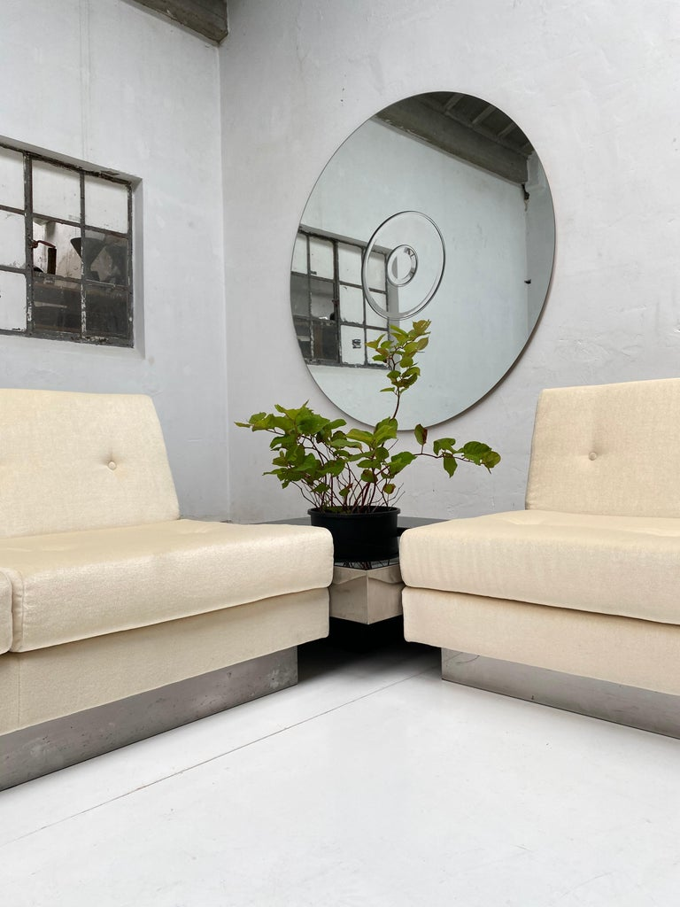 Stainless Steel 2 and 3 Seat Mohair 'CALIFORNIA' Sofas by Jacques Charpentier, Paris, 1970 For Sale