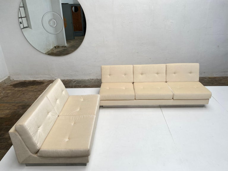 2 and 3 Seat Mohair 'CALIFORNIA' Sofas by Jacques Charpentier, Paris, 1970 For Sale 1