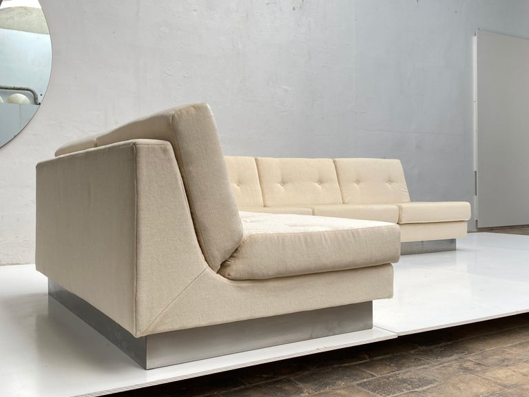 2 and 3 Seat Mohair 'CALIFORNIA' Sofas by Jacques Charpentier, Paris, 1970 For Sale 2