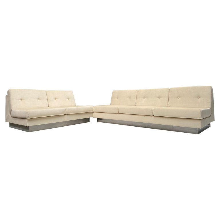 2 and 3 Seat Mohair 'CALIFORNIA' Sofas by Jacques Charpentier, Paris, 1970 For Sale