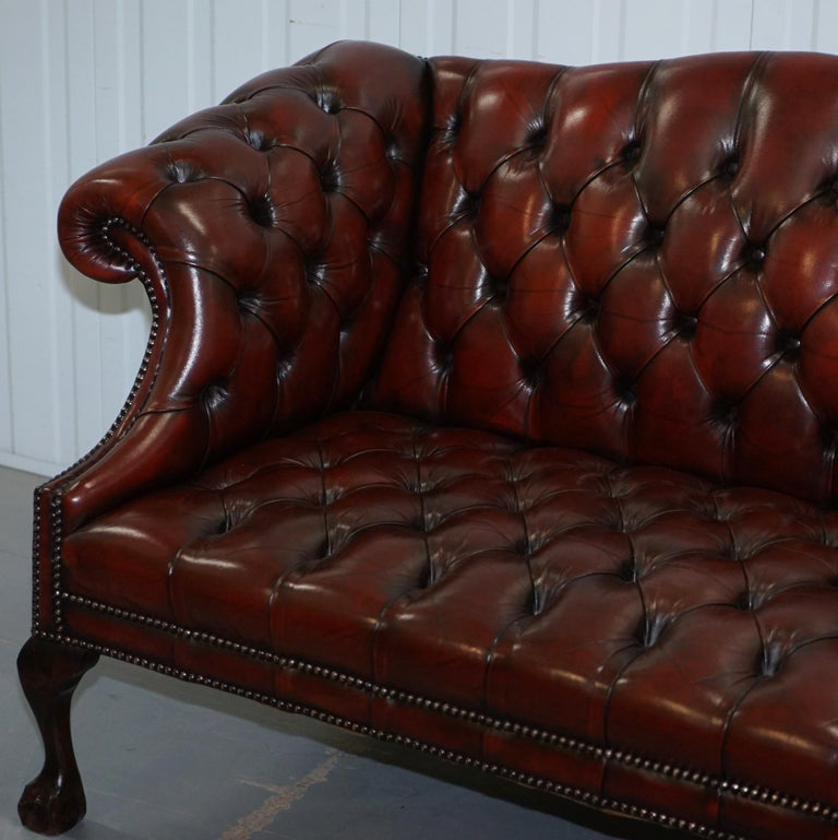 2 and 3 Seat Pair of Claw & Ball Feet Restored Brown Leather Chesterfield Sofas For Sale 9