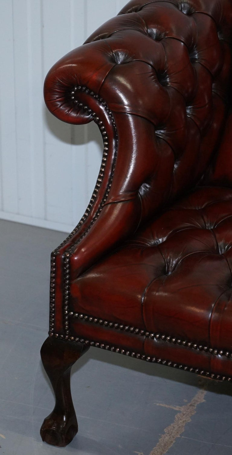 2 and 3 Seat Pair of Claw & Ball Feet Restored Brown Leather Chesterfield Sofas For Sale 11