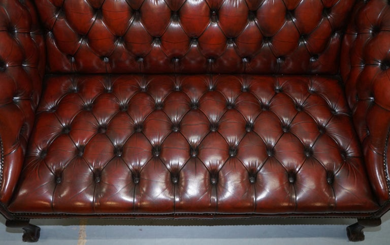 2 and 3 Seat Pair of Claw & Ball Feet Restored Brown Leather Chesterfield Sofas For Sale 12