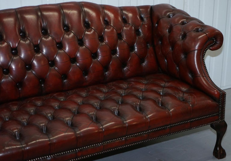 Hand-Crafted 2 and 3 Seat Pair of Claw & Ball Feet Restored Brown Leather Chesterfield Sofas For Sale