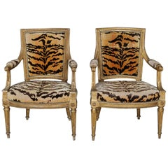 2 Antique 18th Century French Louis XVI Upholstered Giltwood Armchairs