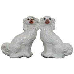2 Antique 19th Century Staffordshire Porcelain Dogs Cocker Spaniels