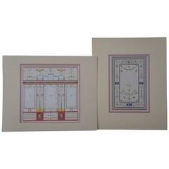 2 Antique Architectural Maison Poete Tragique Pompei Engraving Rouchette Bouchet
